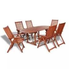 6 Seater Outdoor Oval Dining Set Solid Acacia Wood